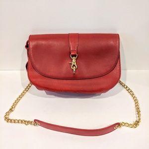 Badgley Mischka Red Leather Crossbody Gold Chain
